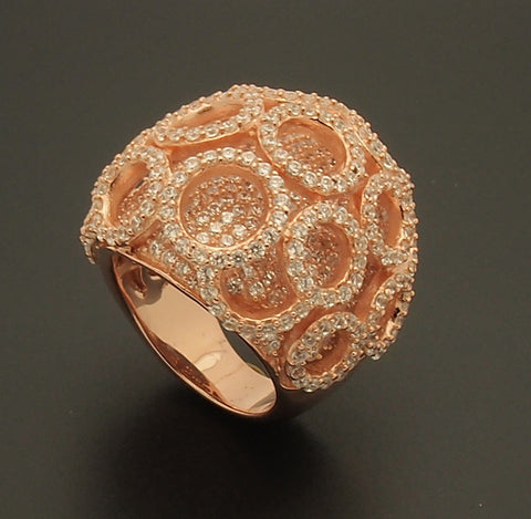 Rose Gold Overlay Sterling Silver CZ Dome Ring