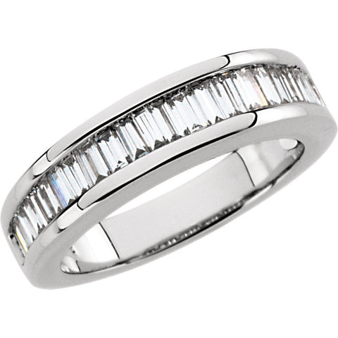 14K White Gold 1 CTW Diamond Baguette Anniversary Band