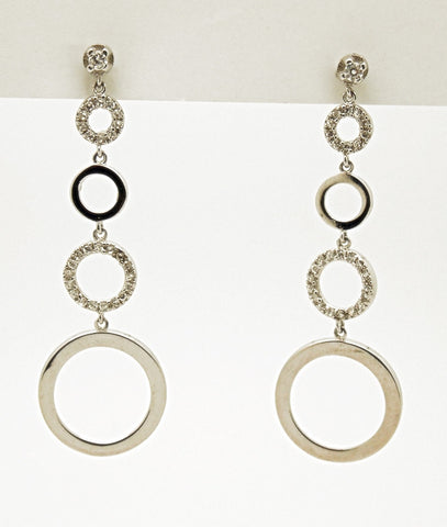 Sterling Silver CZ Circle Drop Earrings