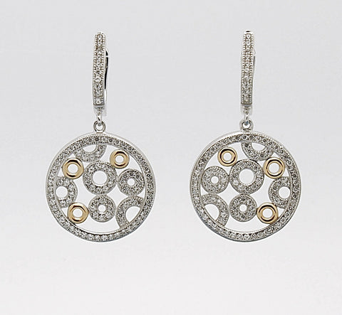 Sterling Silver Two Tone CZ Circle Drop Earrings