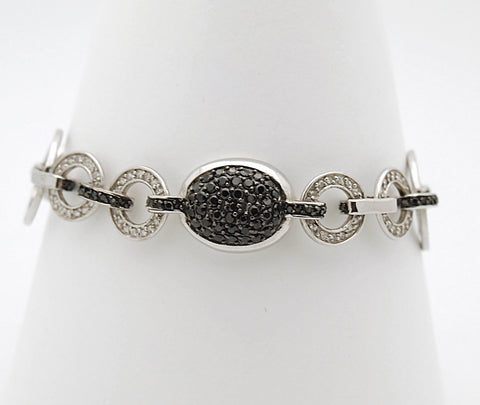 Sterling Silver Black and White CZ Bracelet