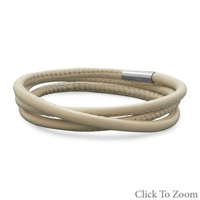 Eggshell Italian Leather Wrap Bracelet
