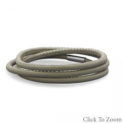 Stormy Grey Italian Leather Wrap Bracelet