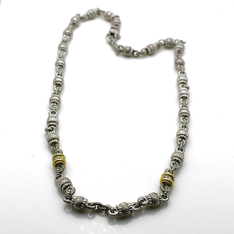 Estate Judith Ripka Sterling Silver and 18k Gold DIamond Necklace
