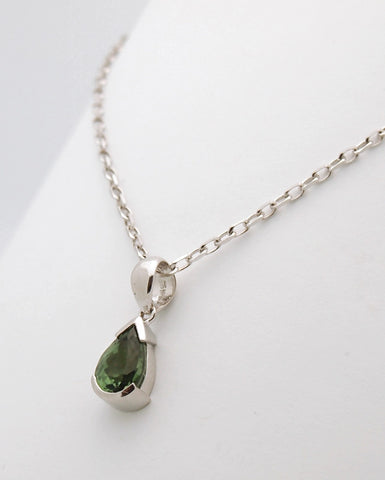 14k White Gold Tourmaline Pendant Necklace