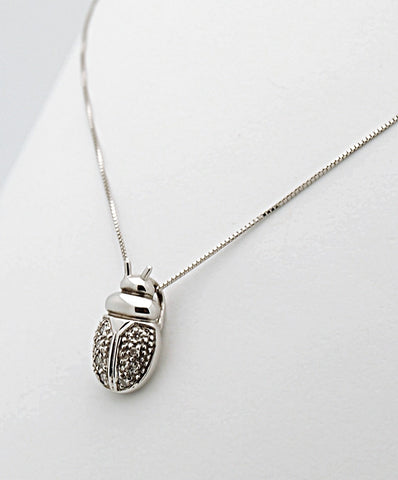 14k White Gold Diamond Lady Bug Pendant Necklace