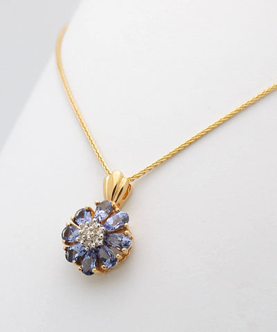14k Yellow Gold Diamond Tanzanite Pendant Necklace