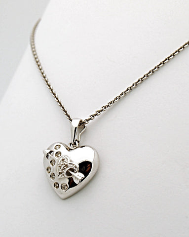 14k White Gold Arrow Diamond Heart Pendant Necklace