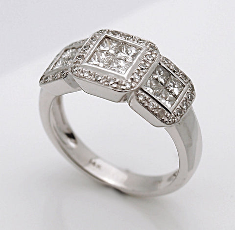14k White Gold Princess Diamond Cluster Band