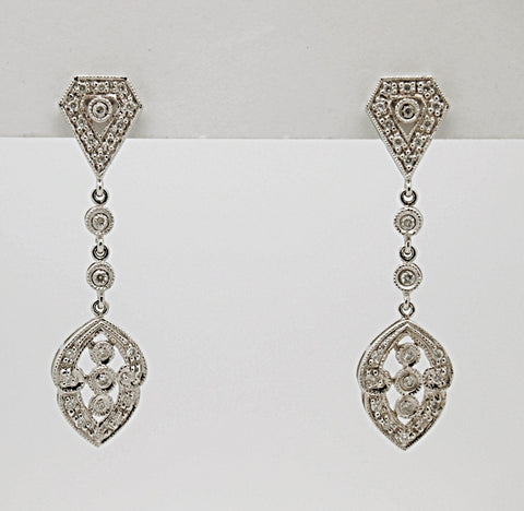 18k Diamond Drop Earrings