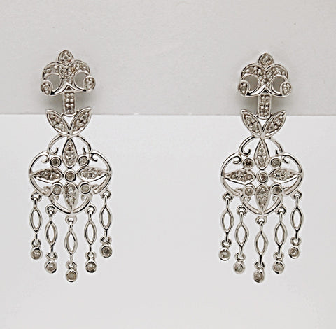 14 White Gold Diamond Chandelier Earrings