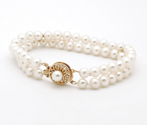 14k Yellow Gold Double Pearl Bracelet