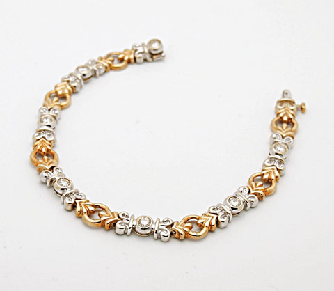 14k Two Tone Diamond Link Bracelet