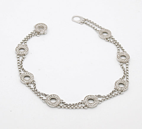 14k White Gold Diamond Circle Link Bracelet