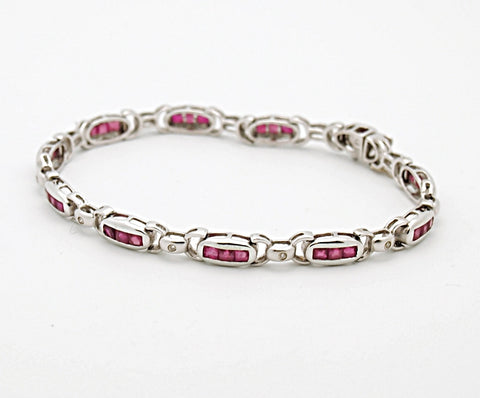 14k White Gold Ruby Diamond Bracelet