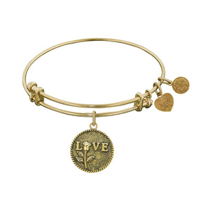 "Antique Yellow Stipple Finish Brass ""Love w/Rose"" Angelica Bangle"