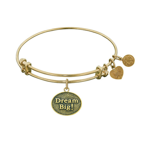 "Antique Yellow Stipple Finish Brass ""Dream Big!"" Angelica Bangle"