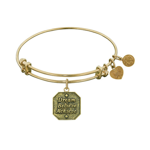 "Antique Yellow Stipple Finish Brass ""Dream, Believe, Achieve"" Angelica Bangle"