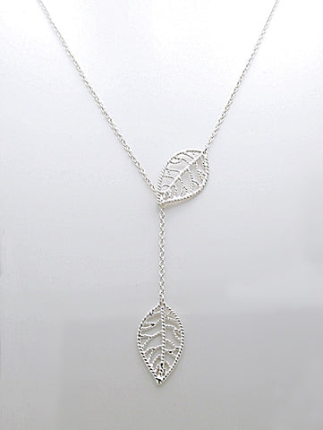 Sterling Silver Filigree Leaf Lariat Necklace