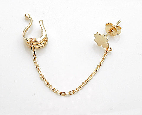 14k Gold Ear Cuff Chain Stud Earring