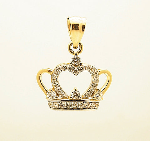14k Gold CZ Crown Pendant