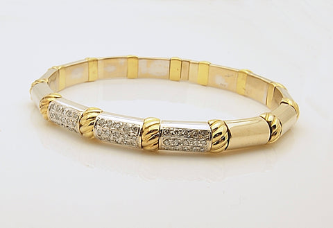Estate 18k Two Tone Diamond Flexible Bangle Bracelet