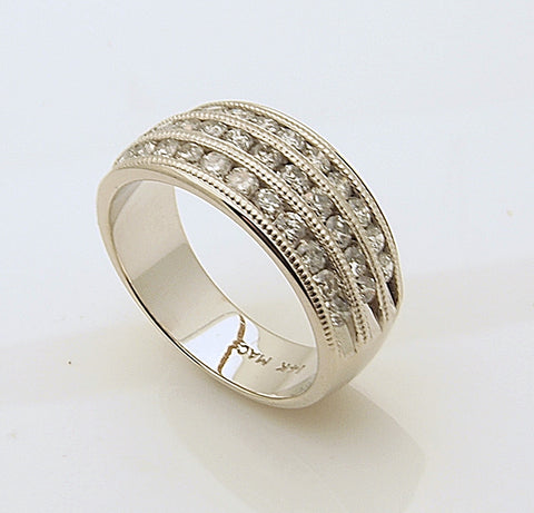 14k White Gold Three Row Diamond Wedding Band