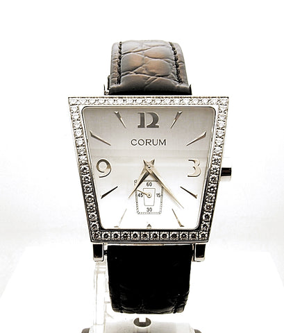 Estate Corum ladies Trapeze Stainless Steel Diamond Bezel Watch