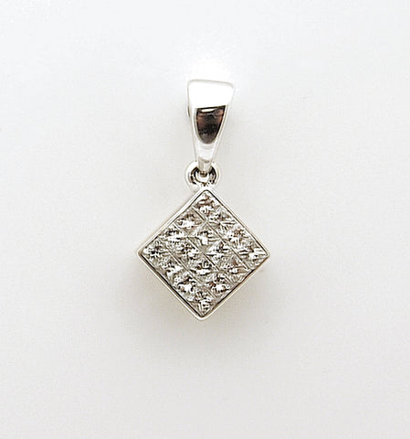 14k White Gold Princess Diamond Cluster Pendant .50 tcw