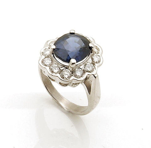 "Estate Platinum Blue Sapphire and Diamond ""Lady Di"" Ring"
