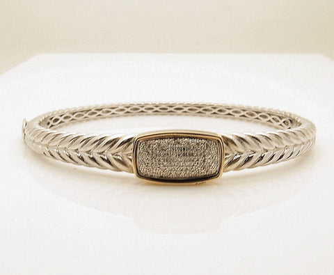 Sterling Silver and 14k Gold Diamond Bangle Bracelet
