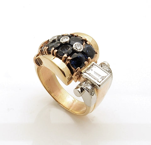 Estate 14k Rose Gold Retro Sapphire and Diamond Ring
