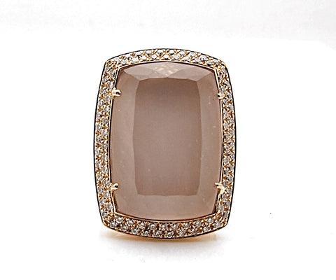 Estate Rina Limor 18k Rose Gold Diamond Rose Quartz Ring