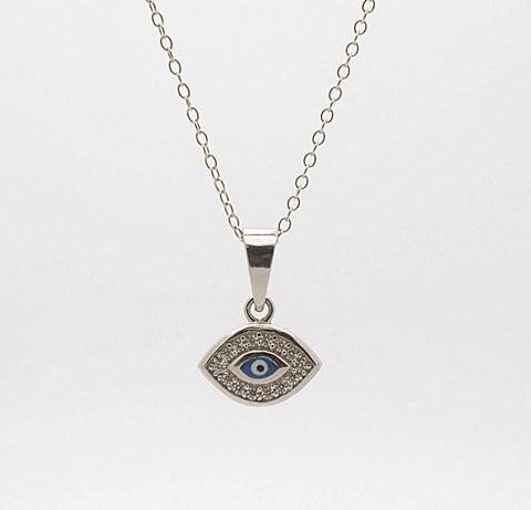 Sterling Silver Evil Eye Pendant Necklace
