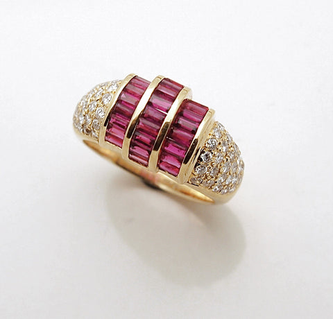 18k Gold Diamond and Ruby Ladies Ring