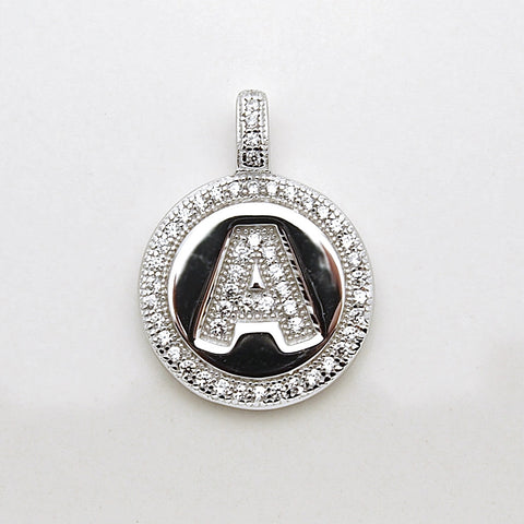 Sterling Silver CZ Initial Disk Pendant
