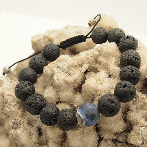 Men's Sodalite Accented Lava Bead Adjustable Bracelet