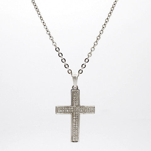 10k White Gold .30ct Diamond Cross Pendant Necklace