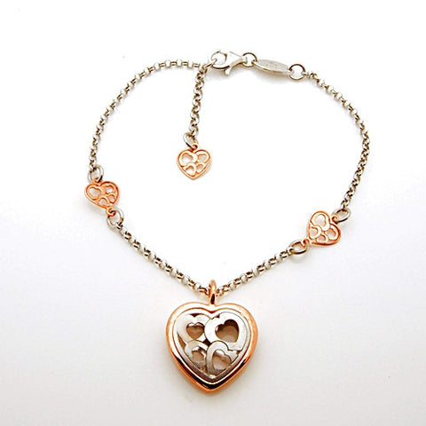 Nomination Verona Collection Pink Plated Sterling Silver Heart Bracelet