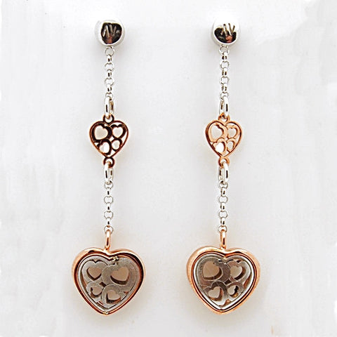 Nomination Verona Collection Pink Plated Sterling Silver Heart Earrings