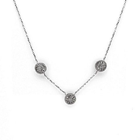 Sterling Silver CZ Station Necklace