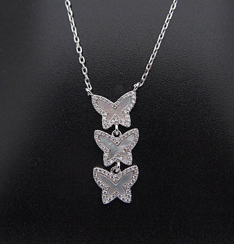 Sterling Silver Mother of Pearl CZ Butterfly Pendant Necklace