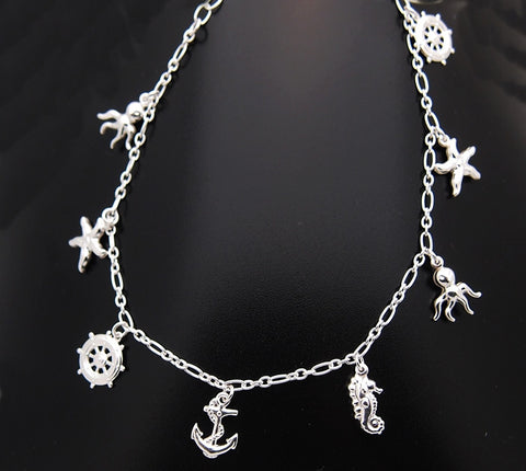 Sterling Silver Sea Shore Themed Ankle Bracelet