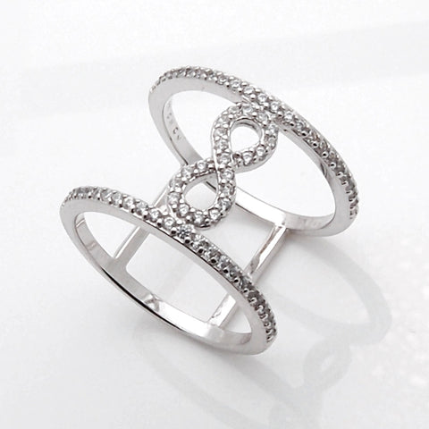 Sterling Silver Wide Split Infinity CZ Ring