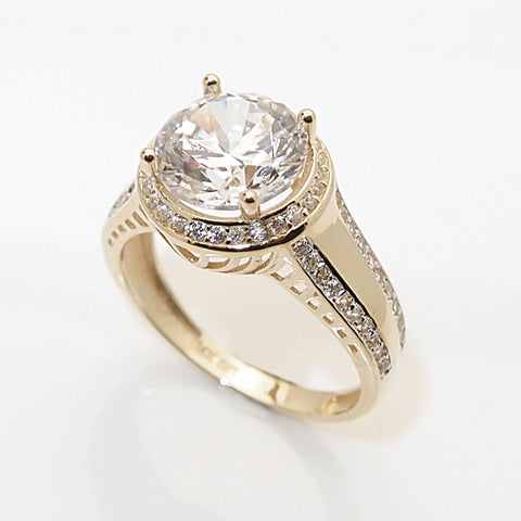 14k 3ct CZ Halo Engagement Ring