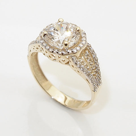 14k 2ct CZ Halo Engagement Ring