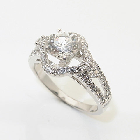 14k White Gold 1ct CZ  Engagement Ring