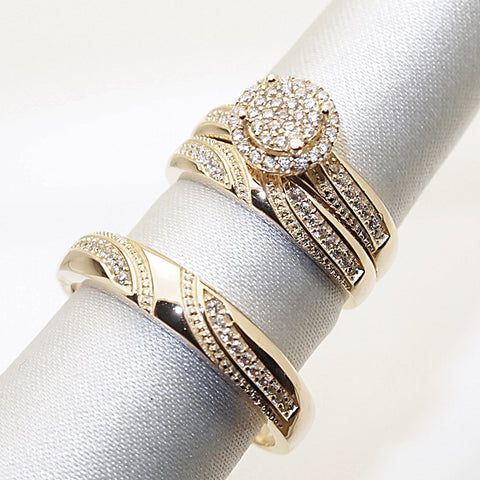 14k CZ Trio Wedding Ring Set
