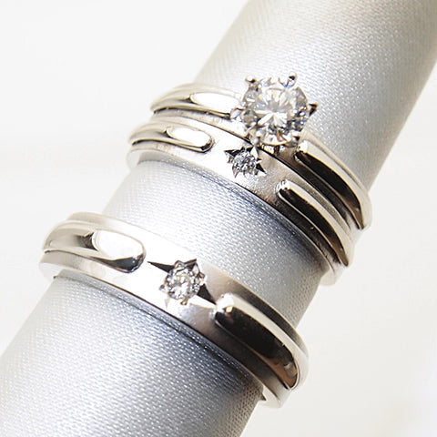 14k White Gold CZ Trio Wedding Ring Set