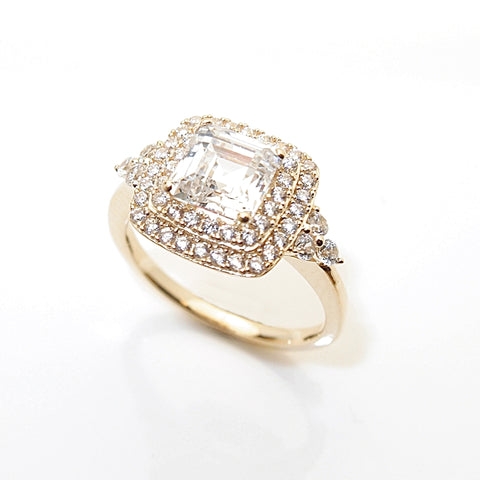 14k 2ct Square Step Cut CZ Halo Engagement Ring